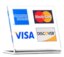 We accept Visa MC Amex Discover